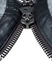 Metal double zipper lock. In unzip jacket. close-up Royalty Free Stock Photography
