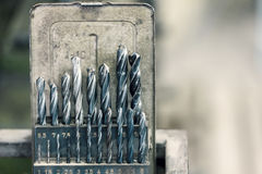 Metal drill bit set Royalty Free Stock Photos