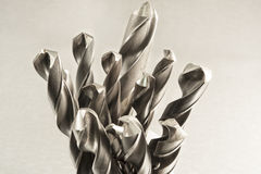 Metal drill bits. Drilling and milling industry. Closeup Stock Photos