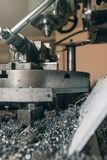 Metal drill. Metal workshop. Royalty Free Stock Image