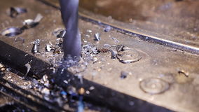 Metal drilling closeup in metal workshop on spare part rotor turbine stock footage