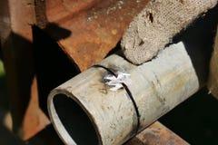 Metal drymba przygotowywająca dla spawać Przygotowanie tubki z spawem fotografia royalty free