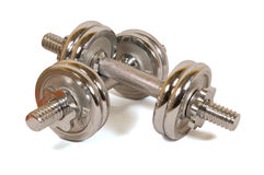 Metal dumb-bells. For training of muscles Stock Photo