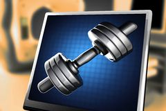 Metal dumbbell on blue background at monitor. 3D rendered Stock Photography