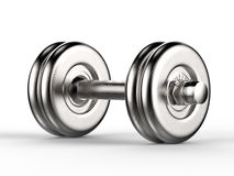 Metal dumbbell. 3d rendering shiny metal dumbbell Stock Images