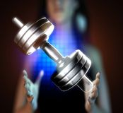 Metal dumbbell on hologram Royalty Free Stock Photography