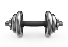 Metal dumbbell  on white background Royalty Free Stock Photos