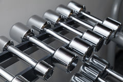 Metal dumbbells lie on the shelf Stock Photo