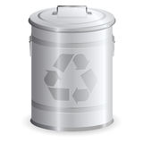 Metal dustbin. Isolated on white background royalty free illustration