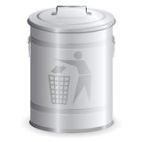 Metal dustbin. Isolated on white stock illustration