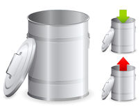 Metal dustbin. With a red and green arrow Royalty Free Stock Photography