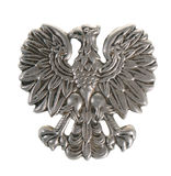 Metal eagle - military symbol. Old Polish police eagle isolated on white background royalty free stock photo