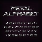 Metal effect alphabet font. Futuristic steel letters and numbers. Royalty Free Stock Photography