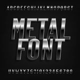 Metal effect alphabet font. Oblique chrome letters, numbers and symbols. Stock vector typography for your design royalty free illustration