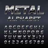Metal effect alphabet font. Steel numbers, symbols and letters. Royalty Free Stock Image