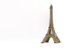 Metal eiffel tower souvenir Paris toy isolated. On white Stock Photo