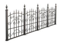 Metal el ángulo de opinión de la cerca en un fondo blanco 3d rinden los cilindros de image Imagen de archivo libre de regalías