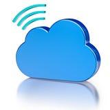 Metal el icono de la base de datos del icono y la nube brillante azul Imágenes de archivo libres de regalías