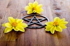 Metal el pentagram con las flores amarillas de la dalia en fondo de madera fotografía de archivo libre de regalías