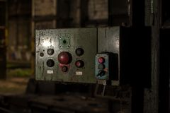 Control panel in abandoned industrial building stock photo