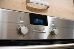 Metal electric kitchen oven control panel Royalty Free Stock Photos