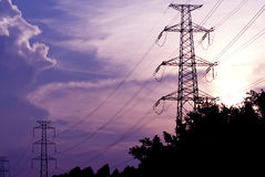 Metal electricity pylons Stock Photos