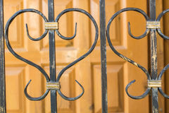 Metal elements of lattices for garden house Royalty Free Stock Photography
