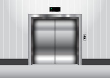 Metal elevator with closed door vector illustration. Rgb mode Royalty Free Stock Images