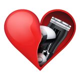 Metal engine inside a red heart Royalty Free Stock Image