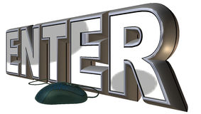 Metal enter. Big letters e-n-t-e-r and a gamer mouse Stock Image