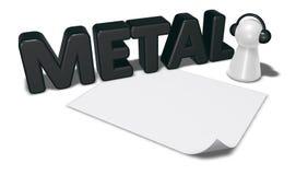 Metal a etiqueta, anule a folha do Livro Branco e o penhor com fones de ouvido Fotografia de Stock