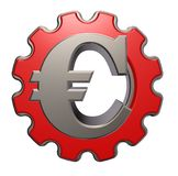 Euro symbol and gear wheel Stock Images