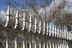 Metal facade fence with sharp points. Metal facade fence with sharp points Royalty Free Stock Photo