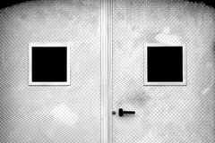 Metal Face. Metal door near to a face royalty free stock images