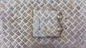 Metal factory floor, brushed metal texture, Old stainless steel Stock Photos