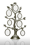 Metal family tree with frames. Metal tree with small frames over white Stock Photo