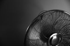 Metal fan on a dark background stock image