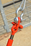 Metal fastener with steel rope. For security royalty free stock photo