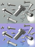 Metal fasteners 3D. Screws, bolts coated silver different state standards, on a gray and purple background with reflection royalty free illustration