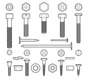 Metal fasteners line icons set. Metal fasteners line vector. Linear screws, nuts and bolts isolated on white background royalty free illustration
