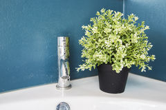Metal faucet and Pots Royalty Free Stock Images