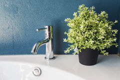 Metal faucet and Pots Royalty Free Stock Photo