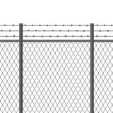 Metal fence with barbed wire. Fortification, secured property, separation concept. Steel construction for danger areas. Metal fence with barbed wire Stock Photography