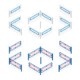 Metal fence flat 3d vector isometric illustration. Metallic fence isolated on background. Stock Image