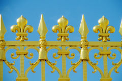 Metal fence with flower ornaments royalty free stock images