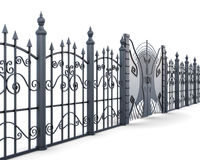 Metal fence and gate on a white background. 3d renderin stock illustration