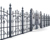 Metal fence and gate on a white background, view angle. 3d rende Royalty Free Stock Image