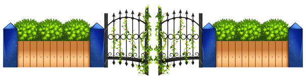 Metal fence and green bush Royalty Free Stock Images