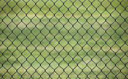 Metal fence with Green grass field background for protection. Use as the background Stock Photos