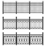 Metal fence-grid, forged fence. A set of fences made of black grating. Isolated chain linked fences metal. Flat design, vector illustration, vector stock illustration